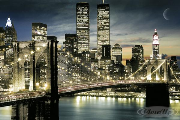 New-York-Poster-Lights-World-Trade-Center-Brooklyn-Bridge-1-gratis-U-Poster