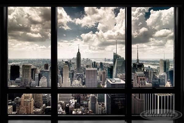 New-York-Poster-Skyline-Fenster-Manhattan-Skyline-und-ein-U-Poster-geschenkt