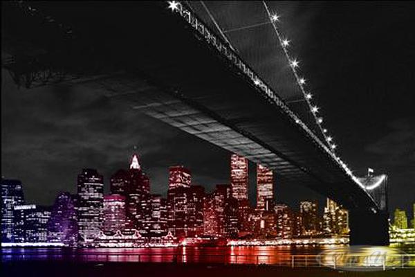 New-York-Poster-Manhattan-Skyline-by-Night-und-ein-U-Poster-geschenkt
