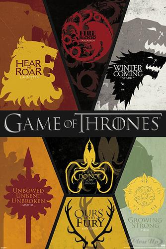 game of thrones poster sigils wappen und ein berraschungsposter geschenkt ebay. Black Bedroom Furniture Sets. Home Design Ideas