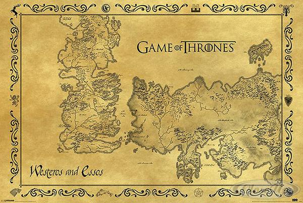 game of thrones poster westeros essos karte antik ebay. Black Bedroom Furniture Sets. Home Design Ideas