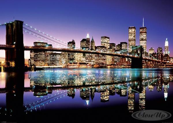 New-York-XXL-Poster-Skyline-Brooklyn-Bridge-by-Night-und-ein-U-Poster-geschenkt