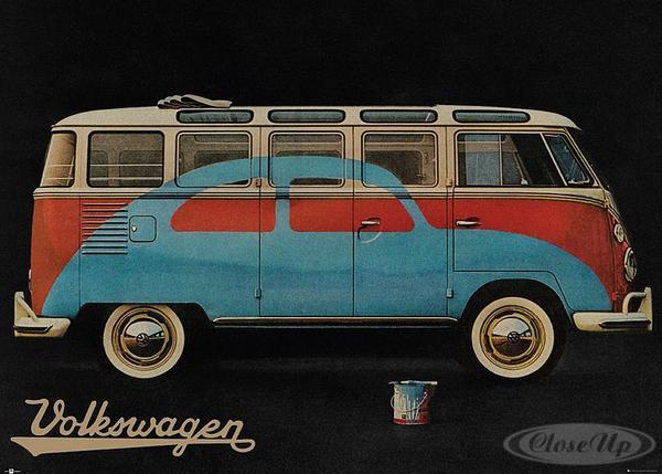 vw camper van xxl poster bulli t1 k fer lackierung volkswagen retro werbung. Black Bedroom Furniture Sets. Home Design Ideas