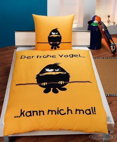 der fr he vogel kann mich mal bettw sche gelb 100 baumwolle renforce 80x ebay. Black Bedroom Furniture Sets. Home Design Ideas