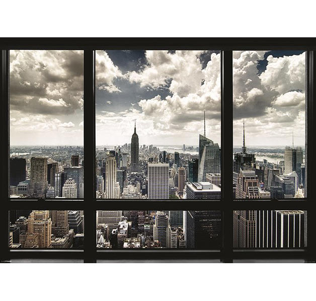 new york poster skyline window giant posters buy now in the shop close up gmbh. Black Bedroom Furniture Sets. Home Design Ideas