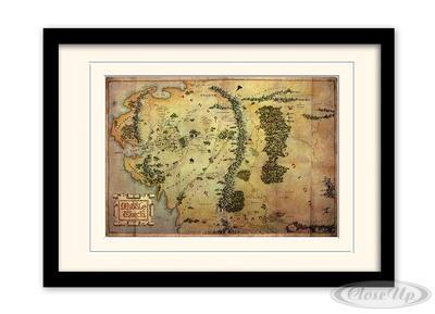 Der Hobbit Kunstdruck, gerahmte Karte von Mittelerde