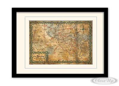 Der Hobbit Kunstdruck gerahmt, Karte von Auenland (The Shire)