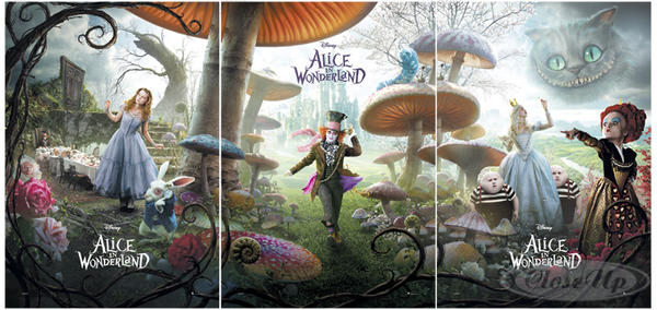 Alice in Wonderland Poster Triptychon