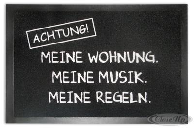 Achtung Fußmatte Meine Musik. Meine Wohnung.Mei...