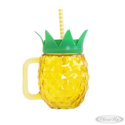 Ananas Trinkglas mit Henkel- griff