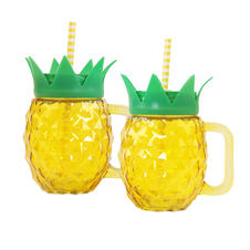 Pineapple drink set with handle