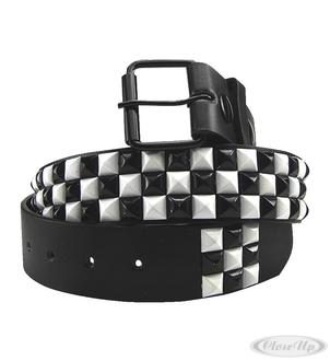BLACK LEATHER PYRAMID BELT