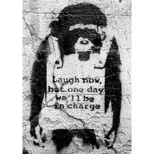 Banksy Poster Affe Laugh now,