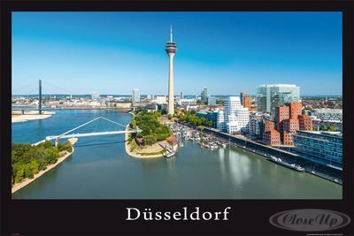 Düsseldorf Poster Skyline Rheinturm & Neuer Zol...