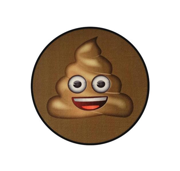 Emoji Teppich Face Shit Ø 50 cm, rund in Braun