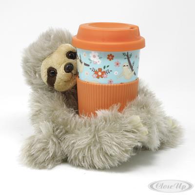 Faultier Travel Mug To Go Becher und Plüschfigur Bobby | Kinderzimmer > Spielzeuge > Stofftiere | Mint - Orange | Kunststoff