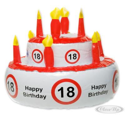 Aufblasbare Geburtstagstorte Verkehrszeichen 18