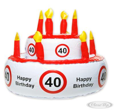 Aufblasbare Geburtstagstorte Verkehrszeichen 40