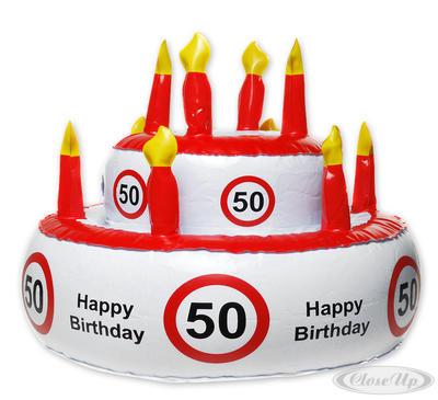 Aufblasbare Geburtstagstorte Verkehrszeichen 50