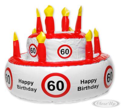 Aufblasbare Geburtstagstorte Verkehrszeichen 60