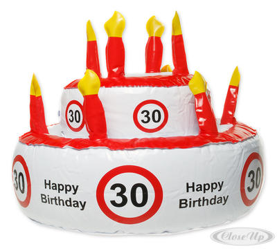 Aufblasbare Geburtstagstorte Verkehrszeichen 30