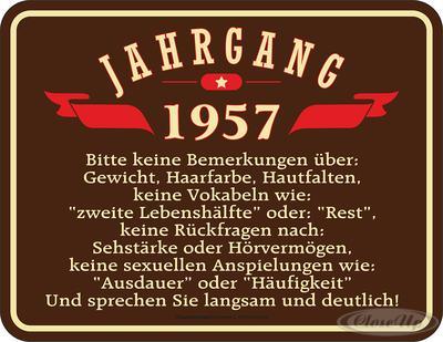 Geburtstag Jahrgang 1957 Blechschild