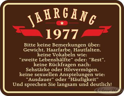 Geburtstag Jahrgang 1977 Blechschild