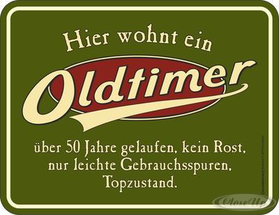 50. Geburtstag: Oldtimer Blechschild