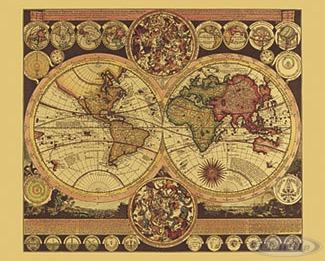 Historische Weltkarte Aluminium-Reliefdruck (Dufex)