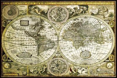 Historische Weltkarte Poster