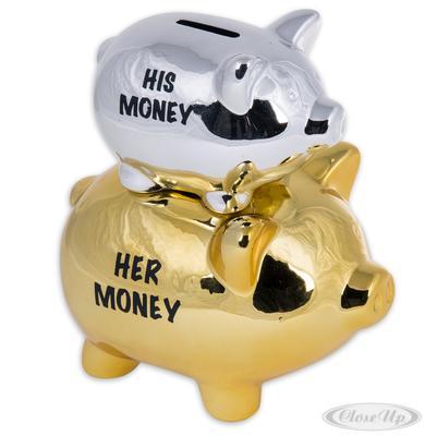 His Money & Her Money Sparschwein Double Piggy