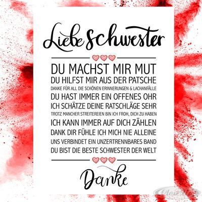 Liebe Schwester Kunstdruck | Dekoration > Bilder und Rahmen > Poster | Matt | Papier
