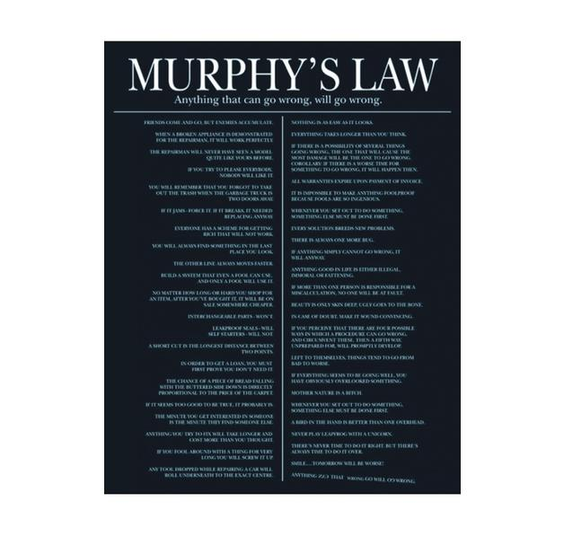 murphys law essays Parkinson's law is the adage that work expands so as to fill the time available for its completion it is sometimes applied to the growth of bureaucracy in an organization this law is likely derived from ideal gas law, whereby a gas expands to fit the volume allotted.