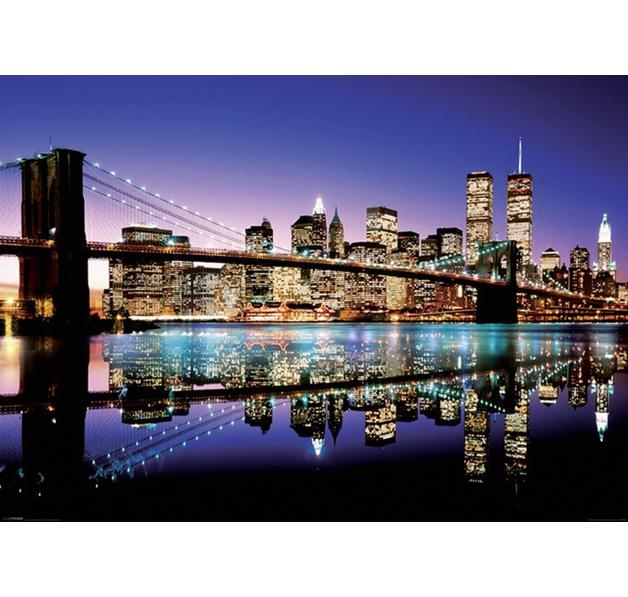 new york xxl poster skyline brooklyn bridge by night giant posters buy now in the shop close. Black Bedroom Furniture Sets. Home Design Ideas