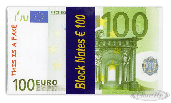 Notizblock 100 Euro - Scherzartikel