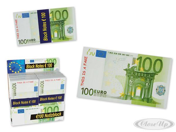 Notizblöcke 100 Euro - Scherzartikel