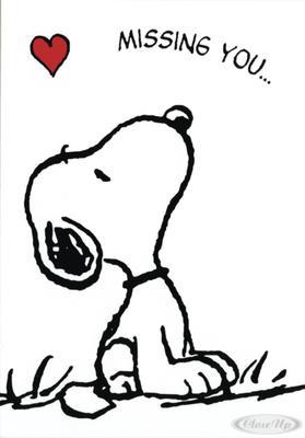 Peanuts Postkarte Snoopy Missing you