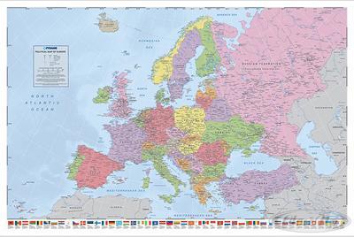 Politische Europa Landkarte Poster, in Englisch