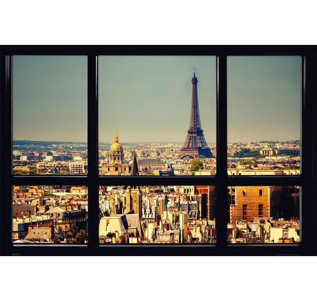 Blick aus dem fenster poster  Paris Poster Blick durchs Fenster