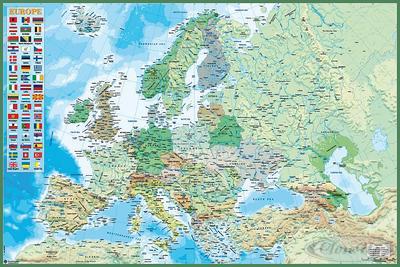Politische Europa Landkarte Poster, mit Länderf...