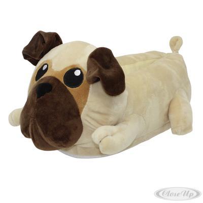 Mops Hund Plüsch-Hausschuhe Pug