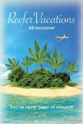 Reefer Vacations Poster Strand mit Cannabis Palmen
