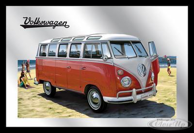 Spiegel VW Bulli T1 Samba VW Lizenz Wandspiegel