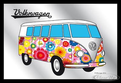 Spiegel VW Bulli Hippie VW Lizenz Wandspiegel