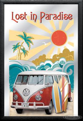 Spiegel VW Bulli T1 Lost in Paradise VW Lizenz Wandspiegel