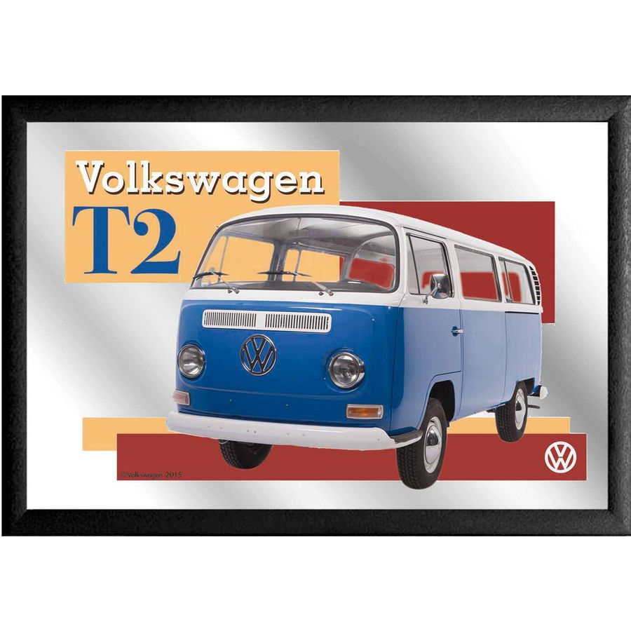 spiegel querformat blauer vw bus t2 im fanartikel shop kaufen. Black Bedroom Furniture Sets. Home Design Ideas