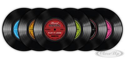 Schallplatten Untersetzer Record Music 6-teilig - broschei
