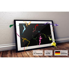Thrown Paint World Map Poster
