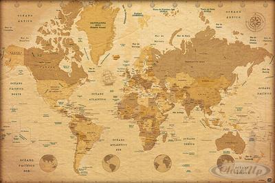 Vintage Worldmap Poster En Español (spanischer Text)