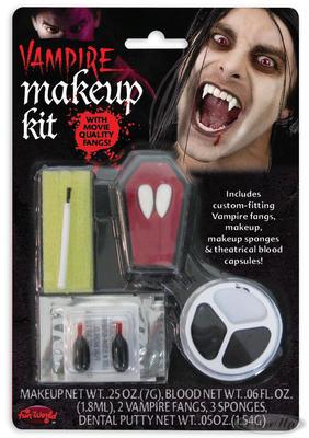 Vampir-Makeup-Kit mit Zähnen, Schminke & 2 Blutkapseln